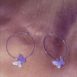 Silver butterfly hoop earrings